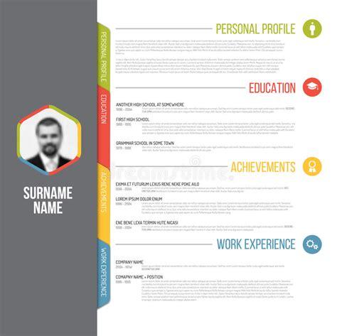 design foto profil plantilla del curriculum vitae del cv de minimalistic