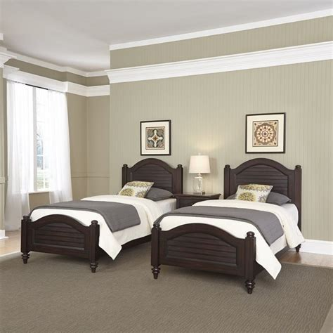2 twin beds and night stand in espresso 5542 4024