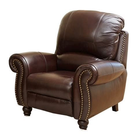 abbyson recliner abbyson living herzina leather pushback reclining armchair