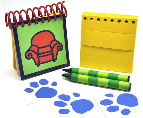erasable blue s clues handy dandy notebook with box 4 jumbo crayons and sticky paw shaped clues