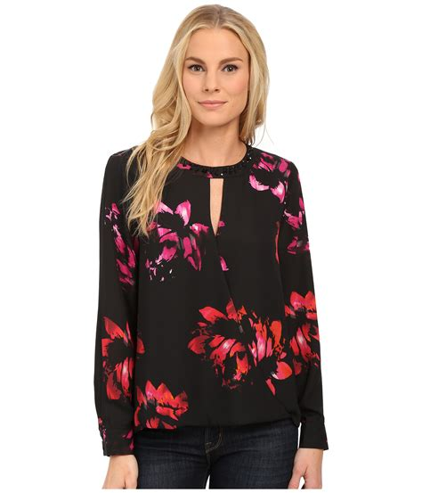 503 1 Blouse Flower vince camuto sleeve wrap front floral blouse w neck embellishment lyst