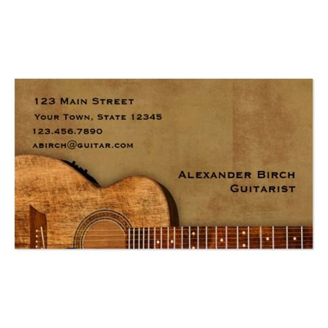 Guitar Business Card Template Free by Rustic Guitar Business Card Template Zazzle