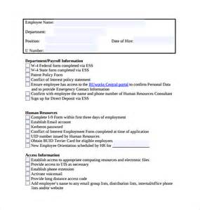 New Employee Checklist Template by Sle New Hire Checklist 7 Documents In Pdf Word