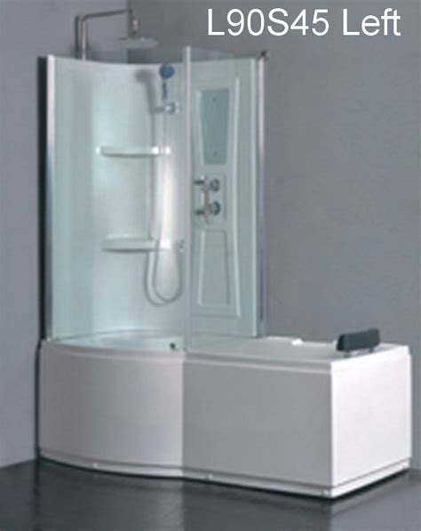 whirlpool bathtub shower combo l90s45 w left whirlpool massage tub shower combo
