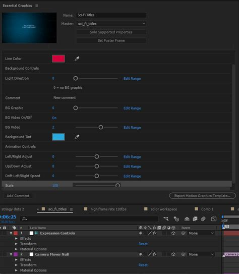 create motion graphics templates with essential graphics panel