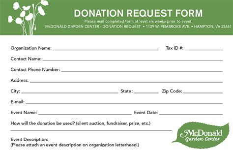 corporate donation request card template donation requests mcdonald garden center