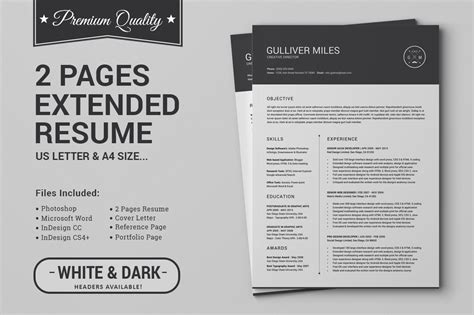 2 Page Resume Template Word by 2 Pages Resume Cv Extended Pack Resume Templates On