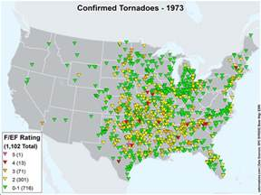 us tornadoes map1973 u s tornadoes