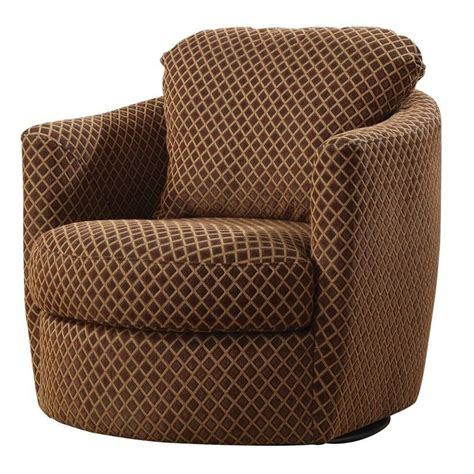 coaster swivel pattern upholstered chair in brown
