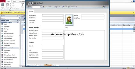 call tracking and monitoring access database template