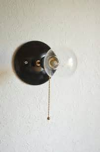 wall sconce with pull chain pulley black brass pull chain industrial by triple7recycled