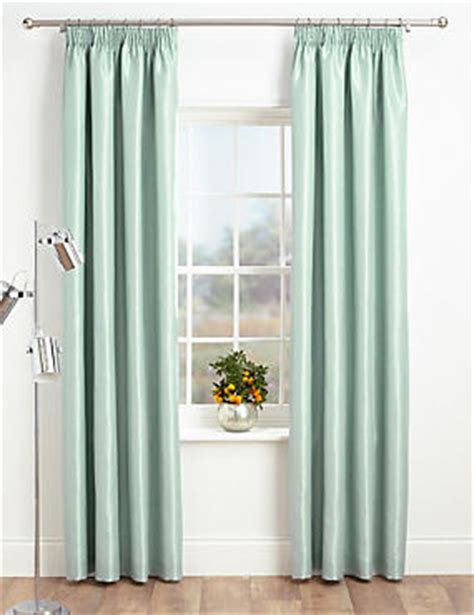 ready made curtains m and s faux silk pencil pleat black out curtains
