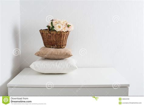 download cozy home decor monstermathclub com basket and pillows stock photo image 58652239