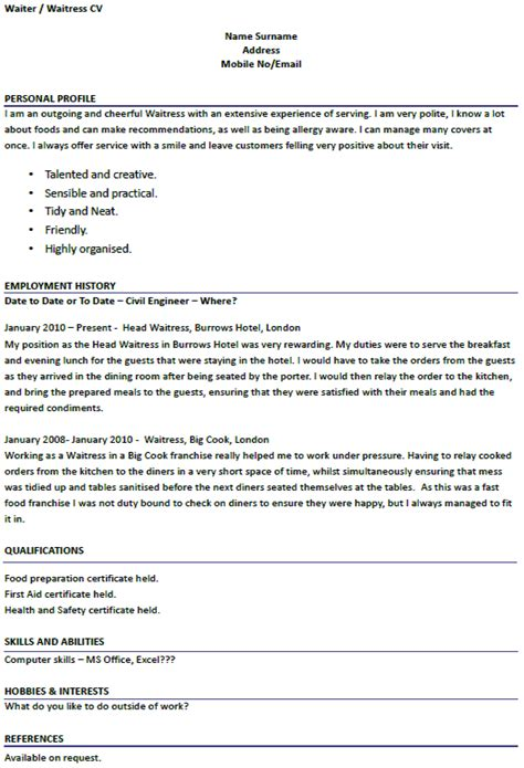 Example Waitress Resume by Waiter Waitress Cv Examples Forums Learnist Org