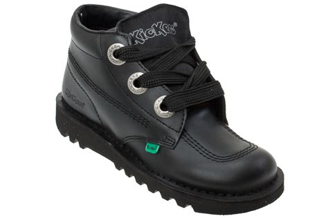 kickers boot black leather kickers kick hi youth black leather lace up
