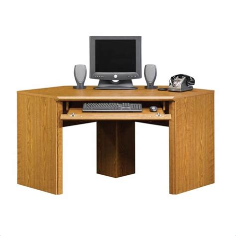 Small Laptop Desks Sauder Orchard Small Corner Wood Carolina Oak Computer Desk Ebay