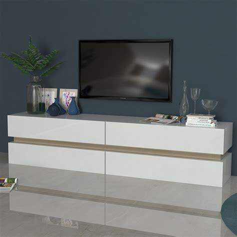 Meuble Tv Laque Blanc Brillant by Meuble Tv Blanc Laqu 233 Brillant Et Couleur Bois Sofamobili