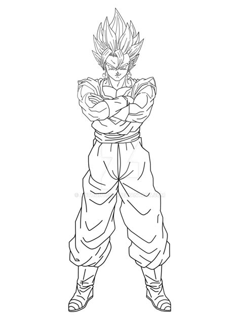 limitless fusion super vegito lineart by anthonyjmo on