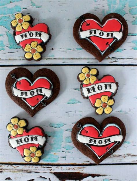 i heart mom tattoo cookies the simple sweet life