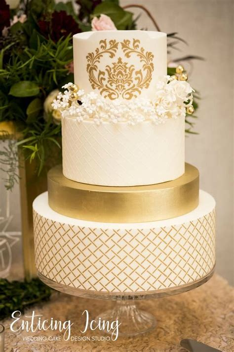 tier wedding cake simple elegant romantic luxious gold  white wedding cake filigree