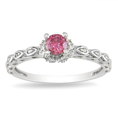 pink sapphire and engagement ring in white gold