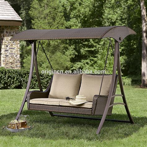 2016 england style rattan garden swing with canopy outdoor 2016 म इ ग ल ड श ल रतन उद य न स व ग च दव क स थ