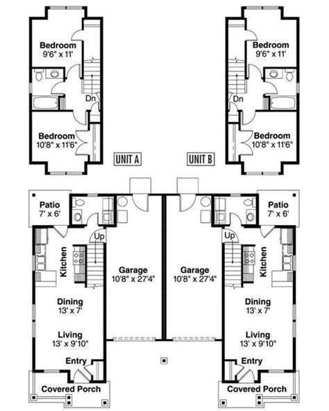 Duplex With Garage Plans by Two Story Duplex With Garage Details Duplex Plans