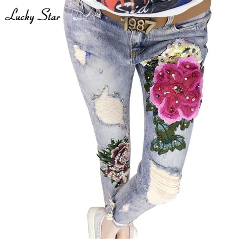 Flowers Embroideries Softjeans Pencil 1 3d Flowers Embroidery Denim Flower