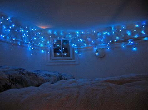 Icicle Lights Bedroom Bed Bedroom Blue Lights Icicle Icycle Image 88845 On Favim