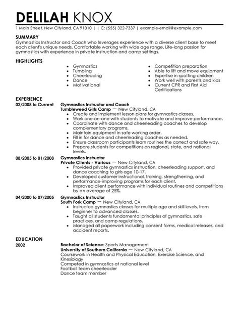 Gymnastics Coach Cover Letter by Gymnastics Instructor Resume Exles Wellness Resume Sles Livecareer