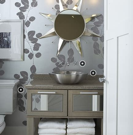 silver bathroom silver leaf wallpaper contemporary bathroom kohler