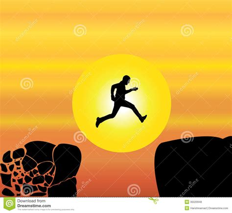 Jump Risk Yellowsun Coach concept design illustration of fit jumping from a crumbing mountain rock to