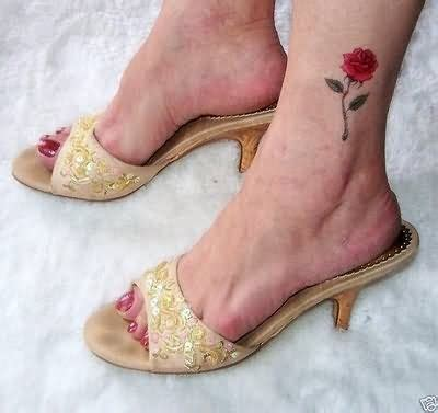 red rose tattoo on foot tattoos pinterest