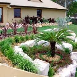 Front Yard Rock Garden Rocks Landscaping And Palm Trees On Pinterest