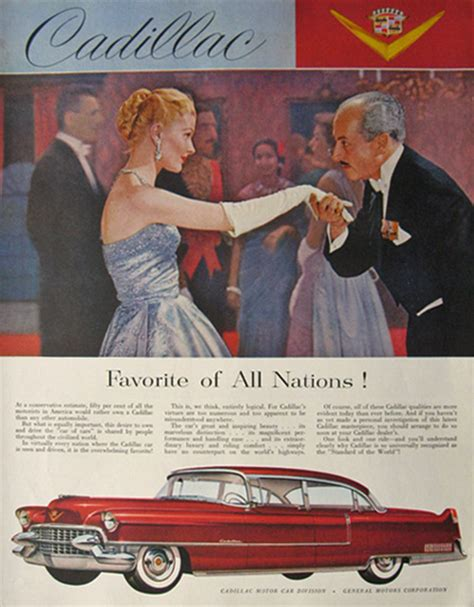 cadillac television ads personalities 1955 cadillac ad favorite of all nations vintage