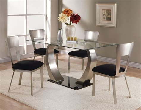 rectangle glass dining room tables acme camille 5 pc glass top metal base rectangular dining table set by dining rooms outlet