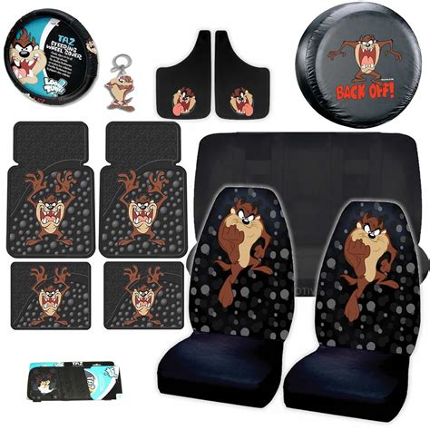 taz car seat covers and floor mats 14pc looney tunes taz attitude black seat covers rubber