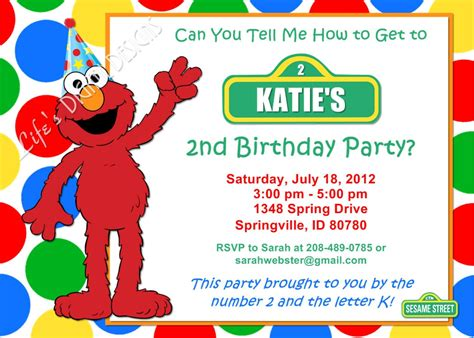 elmo birthday invitation red green yellow blue dots photo