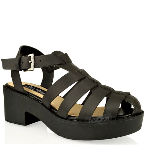 chunky heel gladiator sandals womens cut out block heel chunky thick sole ankle