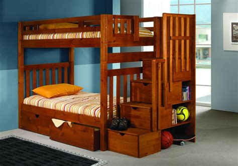 Mission Bunk Beds Stairway Mission Bunk Bed Honey Finish