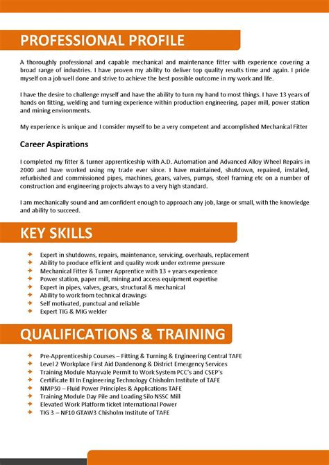 Resume Exles Australia No Experience Mechanical And Maintenance Fitter Resume Template 093