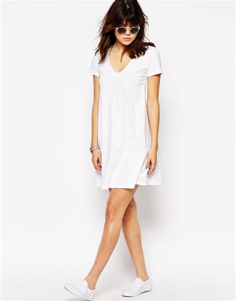 t shirt swing dress asos v neck swing t shirt dress white in white lyst
