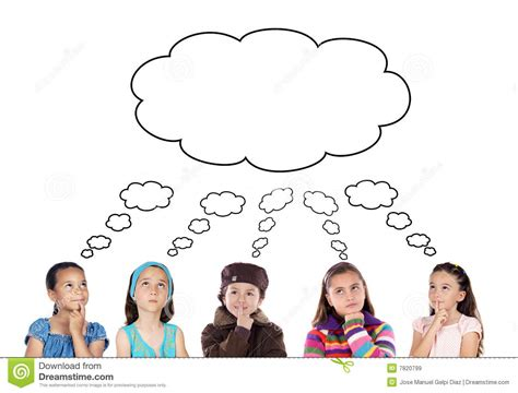 Home Design 2d Plan by Group Of Five Children Thinking Royalty Free Stock Images