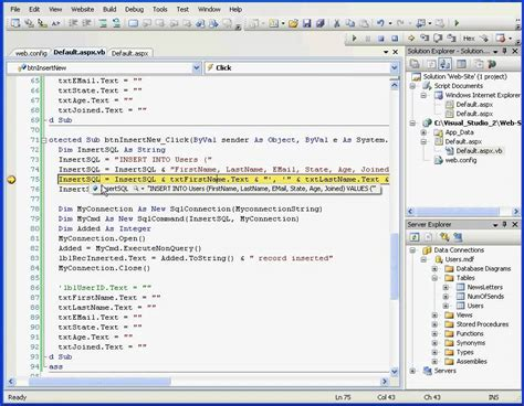 tutorial visual basic 2010 database visual basic visual studio video tutorial insert record