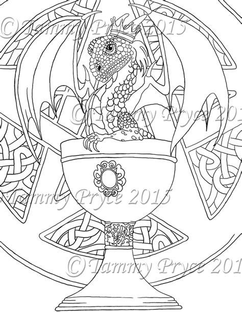 dragon coloring pages for adults pdf fantasy dragon in cup adult coloring page digi st