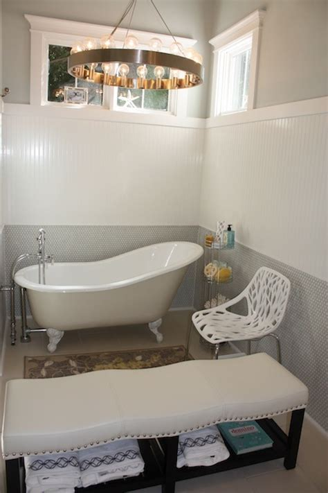 Bath Tub Bench Beadboard Walls Eclectic Bathroom Birds Of A Feather