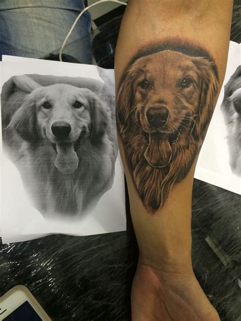 golden retriever tattoo golden my work