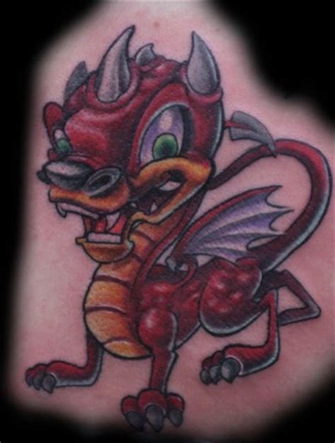 New School Dragon Tattoo | cat tattoo tattoos new school lil dragon