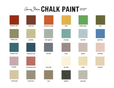paint colors card sloan chalk paint color card diy