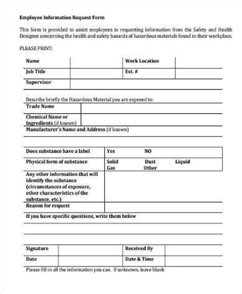 employment request form sle employment information forms 9 free documents in